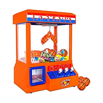Bundaloo Slam Dunk Claw Machine - Miniature Candy Grabber for Kids with 3 Small Basketballs 30 Reusable Tokens - Electronic Prize Dispenser Toy with Arcade Music - Party Game for Children