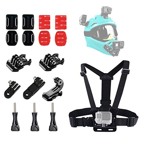 Chest Harness Chesty Strap Vest and Helmet Adhesive Sticky Mounts and Buckle Accessory Kit for Action Camera Compatible with GoPro Hero 9, 8,Go Pro 7, 6,5,4, Session,3+,3, 2, 1, Fusion,DJI Osmo,AKASO
