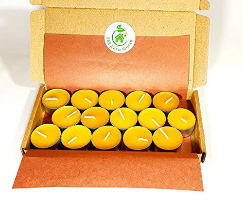 Beeswax tealight candles, set of 15, Hand Poured in UK, BEE Zero Waste, eco-friendly candle, pure beeswax and organic cotton wick, natural air purifier