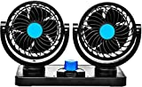 Automaze Car Fan 12V 360 Degree Rotatable Dual Head 2 Speed Quiet Strong