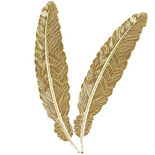 Spongent - Segnalibri a forma di piuma in metallo, 2 pezzi, regalo classico per amici e bambini (oro)