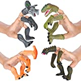 DR DINGUS Dinosaur Finger Puppets - (4 Sets - 20 Piece) - Great for Kids Party Favors, Treasure Box Prizes, Goodie Bag Fillers, Family Fun
