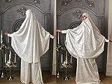 White velvet Jilbab suit with skirt, Transformer Khimar, nikkah niqab burqa, Muslim dress, long nikab, ready to wear hijab, islamic gift