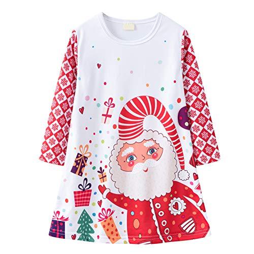 Kleider für Mädchen Festlich Rundhals Lange Ärmel Anmut A-Linien-Rock Weihnachten Print Party Kleid Prinzessin Kleider Kleidung