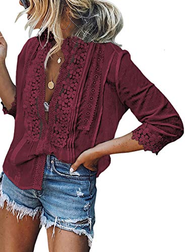 FARYSAYS Women's Lace Crochet Mesh V Neck 3/4 Sleeve Button Down Shirts Casual Blouses Tops Red Large