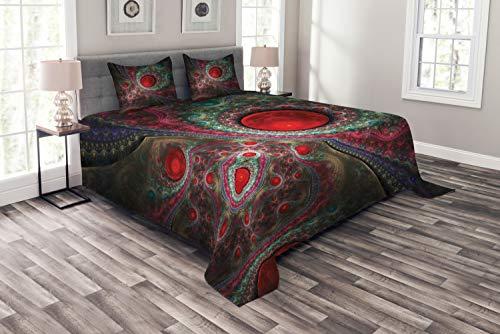 ABAKUHAUS Pearls Tagesdecke Set, Vintage abstrakte Formen, Set mit Kissenbezügen Waschbar, für Doppelbetten 264 x 220 cm, Lavendel Grün