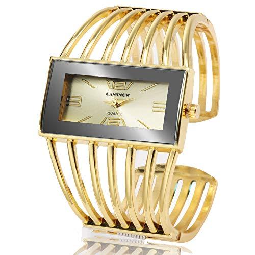 Synona Reloj de Pulsera de Cuarzo para Mujer con Estilo de Esfera Simple y Pulsera Hueca. Resistente al Agua Casual Simple Elegante Vestido Relojes para Mujeres Reloj de Pulsera Brazalete