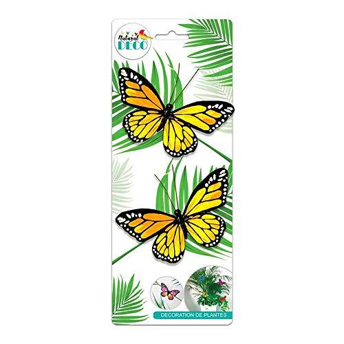 STC Déco Plantes – Lot de 2 Papillons Jaune CD3852