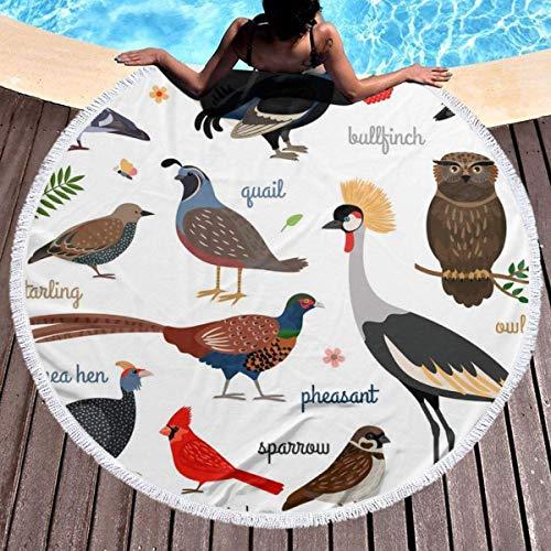 Not Applicable Round Bath Towel,Toalla De Playa Redonda Birds, Toallas De Playa Redondas Premium,150x150cm