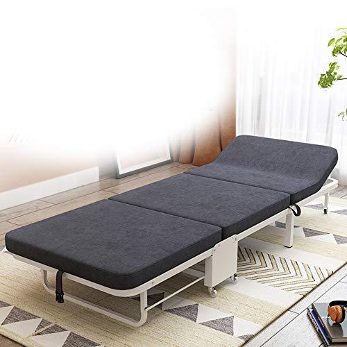 Goodvk Lit Pliant Portable Simple Lit Pliant Multi-Niveaux d'ajustement Durable for Dossier Bureau d'intérieur Balcon Patio Jardin extérieur Plage (Couleur : Noir, Taille : 190X65X27CM)