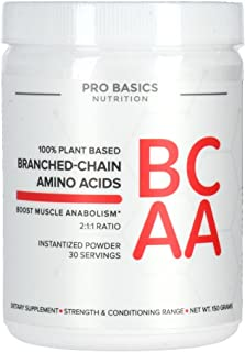 Pro Basics Branched-Chain Amino Acids BCAA Powder, Instantized Fermented Vegan 150g (5.3oz)