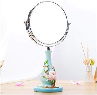 AINIYF Mirror Environmentally Friendly Resin Vanity Mirror Desktop Double-Sided Adjustable Makeup Mirror (Color : Blue)