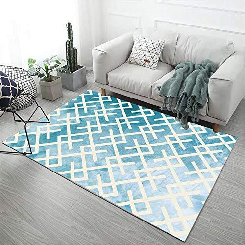 Kunsen Alfombra de habitacion Alfombra Grande Salon La Alfombra Rectangular Azul se USA en la Sala de Estar y la habitación de los niños. alfombras Salon Modernas 60X90CM 1ft 11.6' X2ft 11.4'