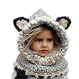 Formesy Inverno Bambino Caldo Coif Cappuccio Sciarpa Caps Cappello Earflap Fox Scialli di Lana Lavorato a Maglia Cappelli Protezione Scherza Berretto Volpe Animale