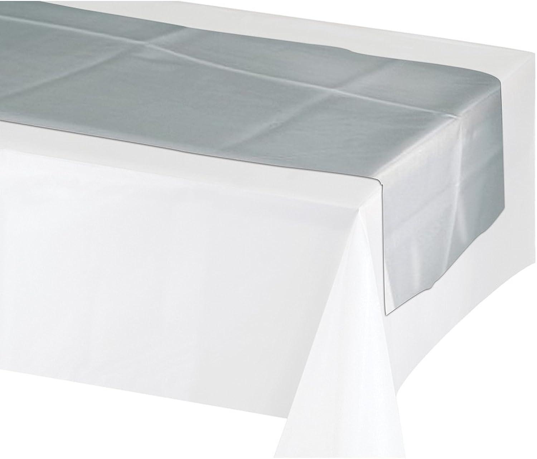 Creative Congreening 317333 12Count Plastic Table Runners, 14 x 84 , Silver Metallic