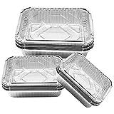 Bandejas de aluminio desechables Elinala, recipientes de aluminio desechables, 30 bandejas rectangulares de aluminio de 450 ml, 700 ml y 1100 ml con tapa para cocinar y almacenamiento de alimentos.