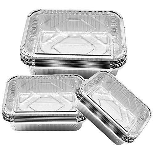 Elinala Teglie Alluminio Usa e Getta, Contenitori in Alluminio Monouso, 30 Vassoi Rettangolari in Alluminio da 450 ml, 700 ml e 1100 ml con Coperchio per Cottura e Conservazione Degli Alimenti.
