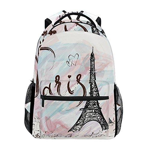 TIZORAX Paris Torre Eiffel mochila escolar bolsa de senderismo mochila de viaje para mujeres y hombres