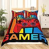 Loussiesd Gamepad - Juego de ropa cama para juegos 135 x 200 cm, adolescentes, niños, jóvenes, moderno, juego mandos estilo Hero Style, decoración colorida la habitación, 2 unidades
