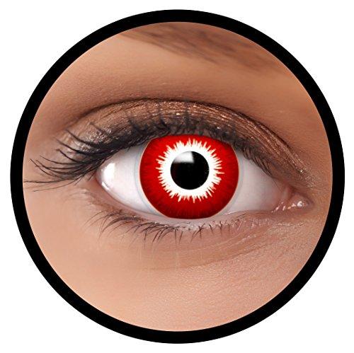 Farbige Kontaktlinsen rot Bloody + Behälter, weich, ohne Stärke in als 2er Pack (1 Paar)- angenehm zu tragen und perfekt für Halloween, Karneval, Fasching oder Fastnacht Kostüm