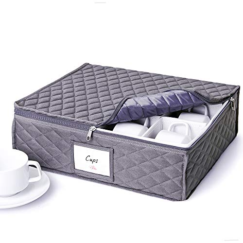 Cup and Mug Storage Chest - Holds 12 Coffee Mugs Tea Cups or Stemless Glassware - Fully-Padded Inside Hard Shelled and Stackable