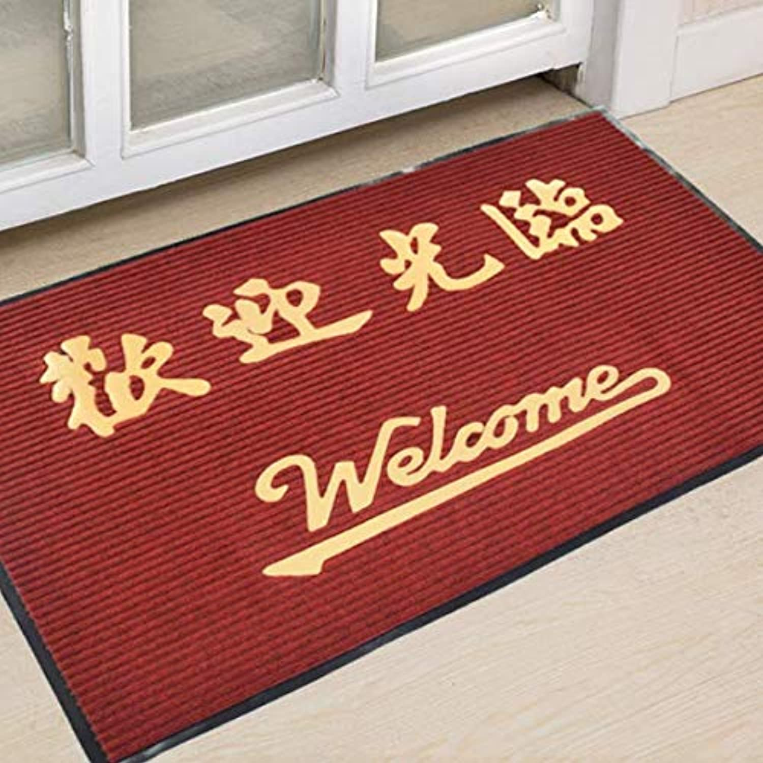 Doormat,Water-Absorption Door mat Anti-skidding Thickened Wear-Resistant Rub Soil mat Easy to Clean Home Decor-Red Wine 80x120cm(31x47inch)