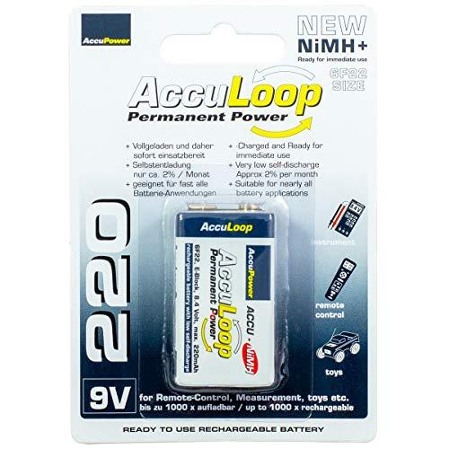 AccuPower AccuLoop AL220-2 da 9 volt NiMH Ready2Use batteria, 220mAh