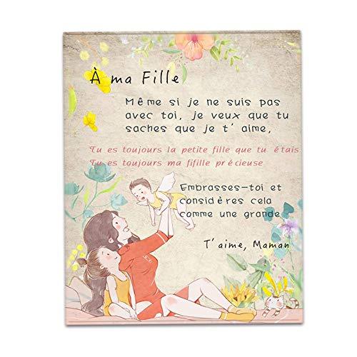 JHWSX Manta de Lana con Letras Francesas para Mi Hija Letras de Patrón Impresas Edredones Impresos con Letras Papá Mamá para Manta (Color : D, Size : 150 * 220cm)