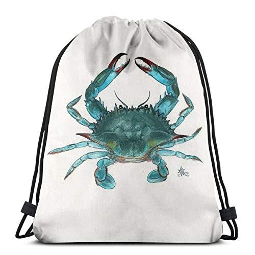 Non applicable Crabe bleu par Amber Marine Aquarelle Peinture © 2013 Sacs à cordon de serrage Sac de sport Sac à dos sac à dos Taille unique style 1