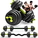 Adjustable Weight Dumbbell and Barbell Set 3-in-1 Dumbbells Set of 5/10/15/20/44, 66 lbs for Adult...