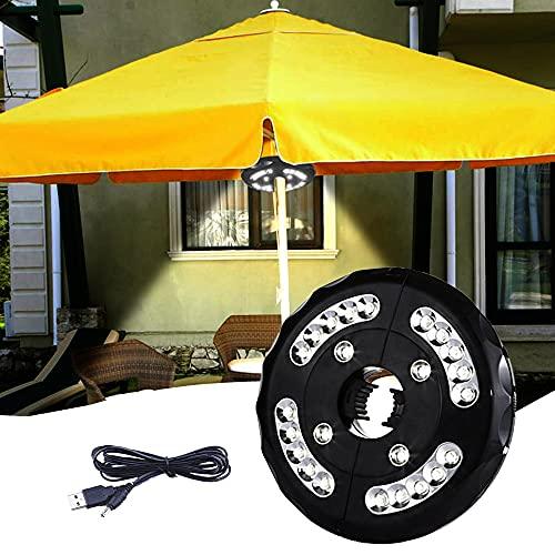 Iluminación para sombrilla, balcón, 24 ledes, 3 modos, 3000 K, luz blanca cálida, recargable, para jardín, playa, exteriores, barbacoas, fiestas, camping
