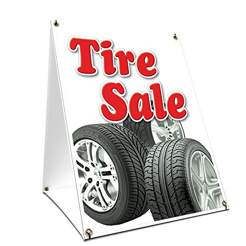 A-Frame Sidewalk Tire Sale Sign with Graphics On Each Side | 24' X 36' Print Size