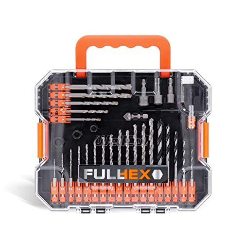 WELLCUT 49-Piece Multi-Functional Hex Shank Drill & Screwdriver Bit Set for Metal, Masonry, Wood, Aluminium, Plastic, Copper Includes Titanium HSS Drill Bits