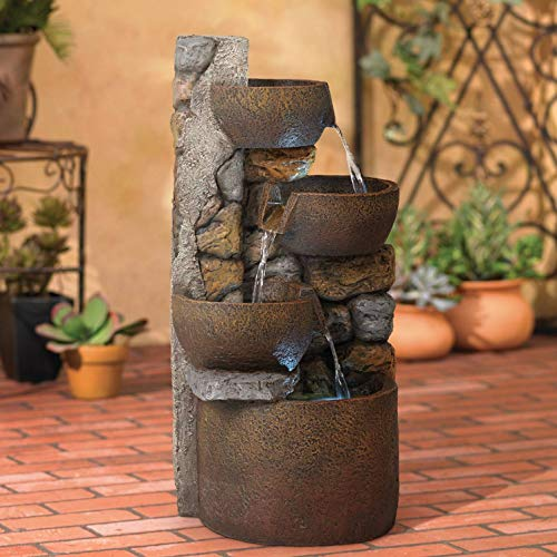 John Timberland Ashmill Rustic Outdoor Floor Water Fountain with Light LED 29' High Cascading Urn for Yard Garden Patio Deck Home