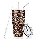 30oz Leopard Tumbler Stainless Steel Insulated Travel Mug with Straw Lid Cleaning Brush (30 oz Leopard)