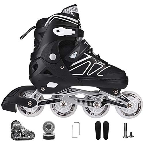 Kinder Herren Damen Inliner Inlineskates ABEC-7 Chrome Kugellager Einstellbare Unisex Fitness Skates für Erwachsene Anfänger mädchen Jungen-Black XL(42-45)