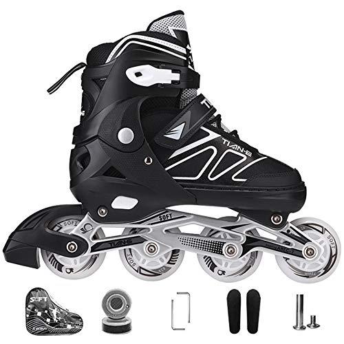 Kinder Herren Damen Inliner Inlineskates ABEC-7 Chrome Kugellager Einstellbare Unisex Fitness Skates für Erwachsene Anfänger mädchen Jungen-Black L(38-41)