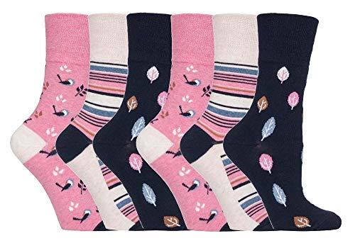 Gentle Grip - 6er Pack Damen Baumwolle Reine Bunt Muster Ohne Gummi Socken mit Design (37-42 EU, GG168 Birds/Leaves)