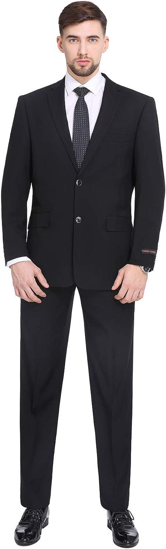 P&L Men's Suits 2-Piece Classic Fit 2 Button Office Dress Suit Jacket Blazer & Pleated Pants Set