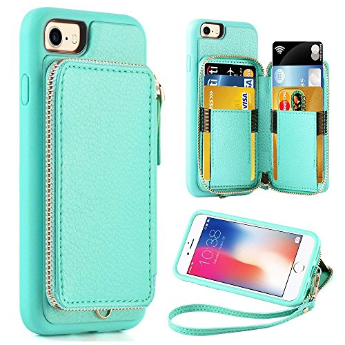 ZVE Wallet Case for Apple iPhone 8 and iPhone 7, 4.7 inch, Zipper Wallet Case with Credit Card Holder Slot Handbag Purse Wrist Strap Protective Case for iPhone 8/7/SE(2020), 4.7 inch - Blue