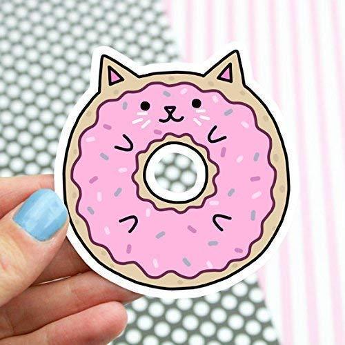Donut Cat Sticker, Pink, Frosting, Cute Vinyl Stickers, Kawaii, Girlfriend Gift, Laptop Decal, Car Sticker, Food Stickers