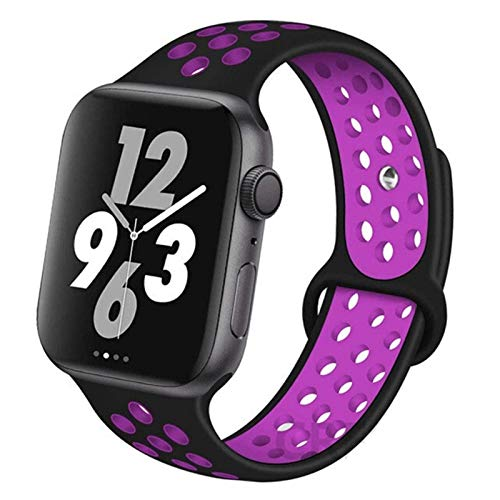 CGGA Correa For IWATCH Band 44mm 42mm 38mm 40mm IWATCH Banda Pulsera De Silicona Sport Series Accesorios For De IWatch 6 5 4 3 SE (Band Color : Black Purple 25, Band Width : 42mm 44mm L)