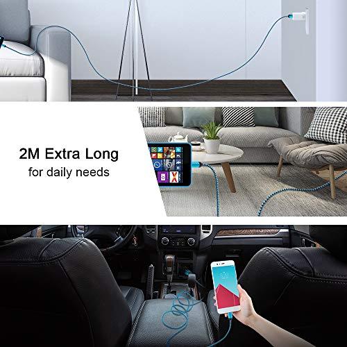 Micro USB Kabel, AILKIN [4 Pack 2M] Micro USB Ladekabel Nylon Android Handy Ladekabel für Samsung Galaxy S7/ S6/ J7/ J3/ Note 5, Xiaomi, Huawei, HTC, LG, Motorola, Sony, PS4 usw