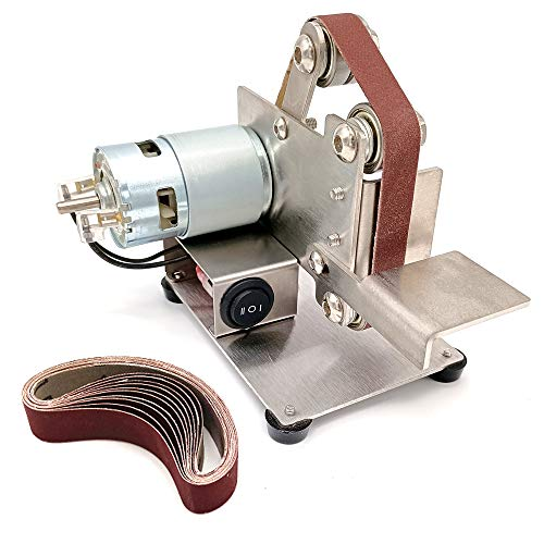 KKmoon Levigatrice a Nastro da Banco Mini Smerigliatrice da Banco Levigatrice a Nastro Multifunzionale (15mm)