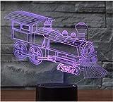 Una piccola luce notturna con 7 luci colorate, visione stereo 3D, locomotiva per trenini, incredibile luce notturna creativa