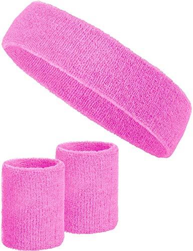 3-teiliges Schweißband-Set mit 2X Schweißbändern für die Handgelenke + 1x Stirnband für Damen & Herren (Rosa)