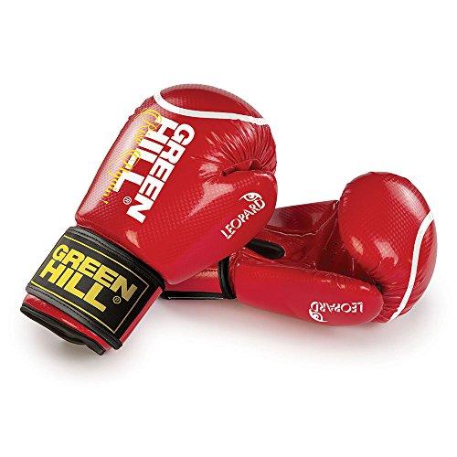 guanti boxe 16 oz GREEN HILL GUANTI BOXE LEOPARD GUANTONI ANTISHOCK PUGILATO (Rosso