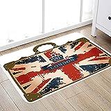 Alfombra de baño súper Suave de 50 x 80 cm,Union Jack, Maleta de Viaje Vintage con Bandera británica, Cinta de Londres e Imagen de Corona, a Alfombra de baño Absorbente Antideslizante