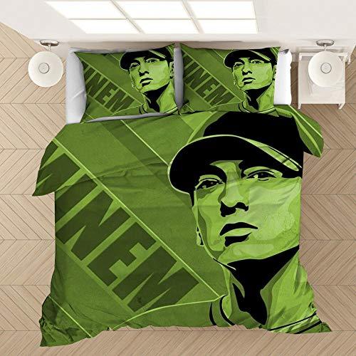 Ropa de cama estampada en 3D de Rap King Eminems, adecuada para decorar dormitorios, casas de familia, apartamentos, para familiares y amigos a los que les gusta el hiphop-segundo_173x218cm (3 piezas)