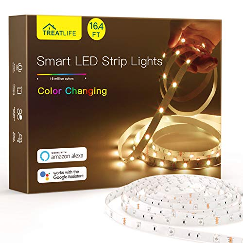 Smart LED Strip Lights 16.4ft, Treatlife Wi-Fi LED Lights Works with Alexa, Google Home, Music Sync 16 Million Color Changing, APP Remote Control, Flexible Rope Lights for Bedroom, TV, Party, Bar